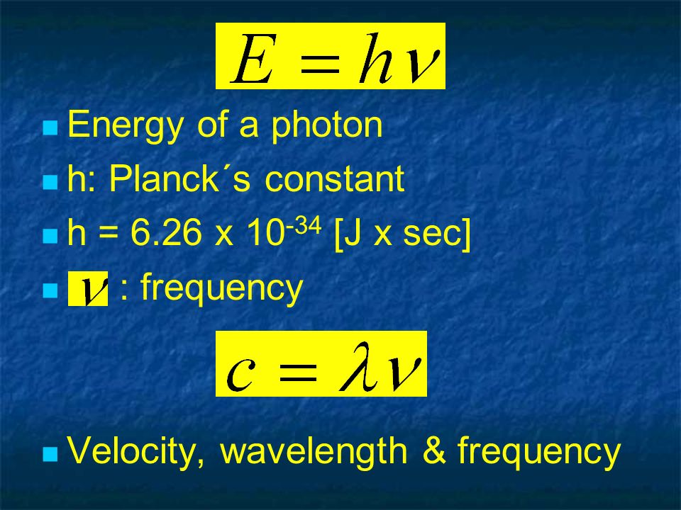 Energy of a photon h: Planck´s constant. h = 6.26 x 10-34 [J x sec] : frequency.